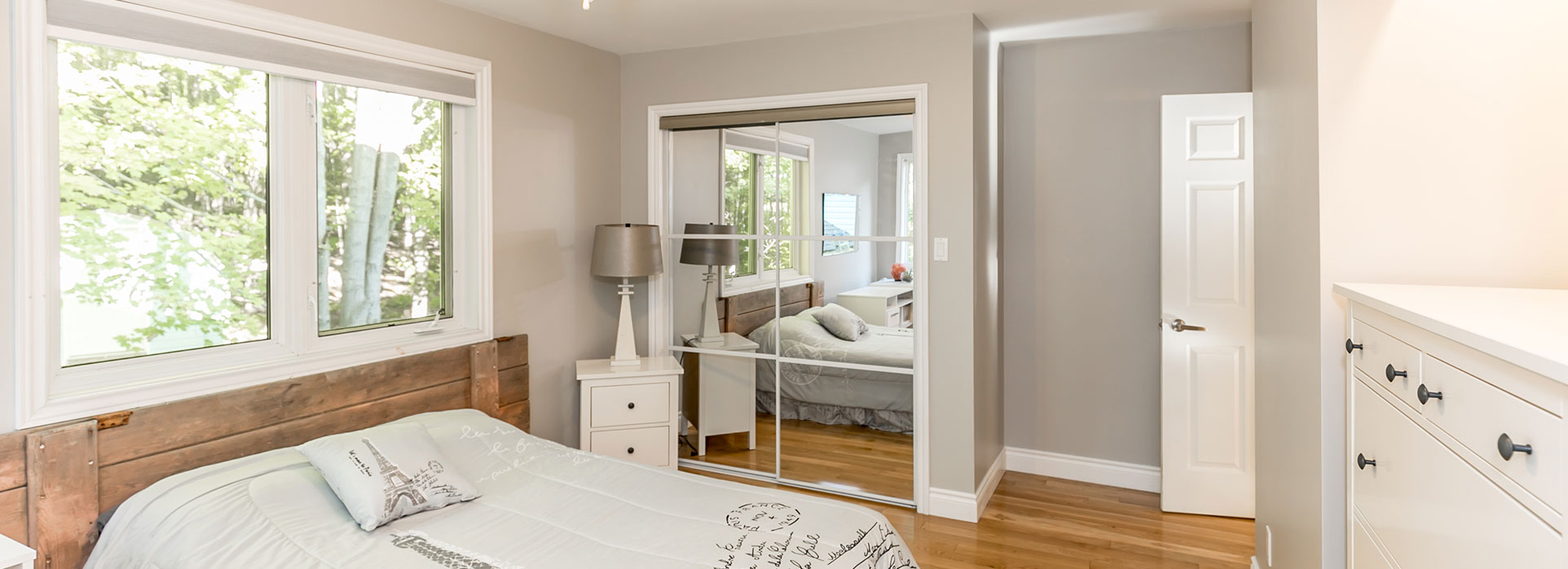 185 Darby Road - Bedroom with Mirror Closet & Large window - Cripps Realty